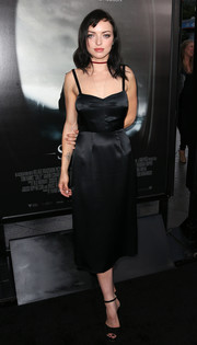 Francesca Eastwood was classic and sexy in a little black satin dress with spaghetti straps and a sweetheart neckline during the screening of 'Sully.'
