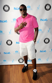Sean Combs was dressed for comfort in Nike basketball sneakers, cargo shorts, and a polo shirt for his Las Vegas pool party.