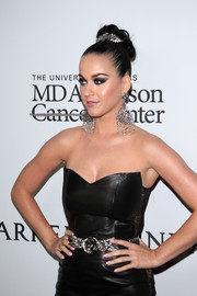 Katy Perry styled her black leather dress with a silver flower belt for the Parker Institute for Cancer Immunotherapy Gala.