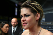 Kristen Stewart looked edgy, as always, with her short, messy cut at the Zurich Film Festival premiere of 'Seberg.'