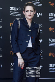 Kristen Stewart's red nail polish looked striking against her navy outfit at the San Sebastian Film Festival premiere of 'Seberg.'
