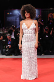 Zazie Beetz slipped into an embroidered white column dress by Miu Miu for the Venice Film Festival screening of 'Seberg.'