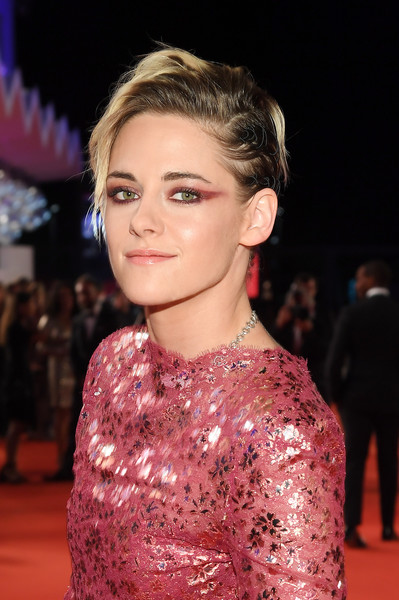 Kristen Stewart stuck to her signature punky, messy 'do at the Venice Film Festival screening of 'Seberg.'
