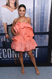 Vanessa Hudgens oozed ultra-feminine appeal wearing this sculptural strapless mini dress by Marc Jacobs at the world premiere of 'Second Act.'