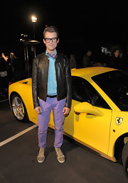 Brad Goreski has perfected the art of ultra-cool geek-chic. For the Art Mere/Art Pere Night Brad donned a leather jacket with his plaid bowtie and colorful ensemble.