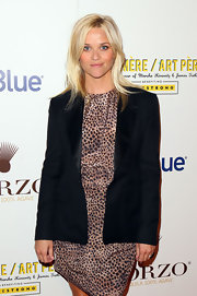 Reese Witherspoon topped off her wild style with a black tuxedo inspired blazer with satin lapels at the Art Pere Night.