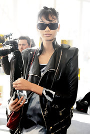 Chanel wore black rectangular sunglasses for strolling around NY Fashion Week.