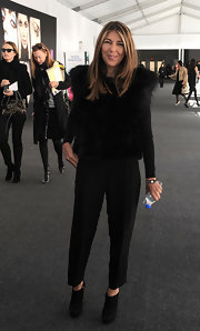 Nina Garcia stepped out in edgy yet stylish black suede ankle boots during Mercedes-Benz Fashion Week.