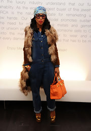 June Ambrose carried a classic Birkin at the Lincoln Center where the 2011 MBFW was held.