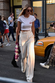 Gigi Hadid kept it casual in a white T-shirt during New York Fashion Week.