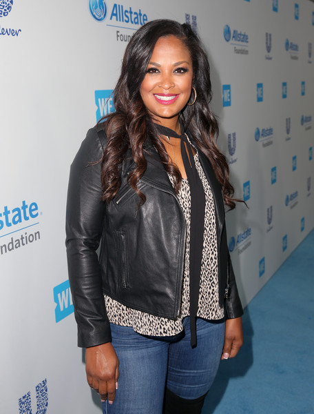 More Pics of Laila Ali Leather Jacket (4 of 6) - Outerwear Lookbook - StyleBistro [clothing,leather,jacket,leather jacket,outerwear,textile,cool,long hair,electric blue,event,come together at we day california,california,selena gomez,demi lovato,alicia keys,laila ali,miss piggy,young people changing the world,dj khaled,bryan cranston]