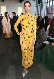 Angela Sarafyan attended the Self-Portrait fashion show wearing a lovely yellow floral frock from the label.