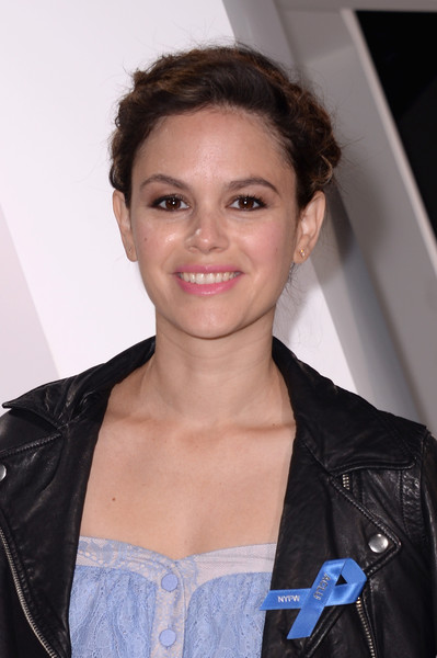 Rachel Bilson styled her hair into a braided updo for the Self-Portrait fashion show.