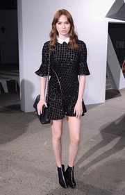 Karen Gillan looked party-ready in a grid-patterned sequin dress by Self-Portrait during the brand's fashion show.