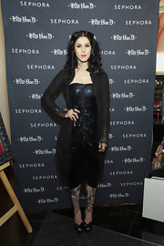 Kat Von D looked super-goth in this black ruched dress at the Sephora launch.