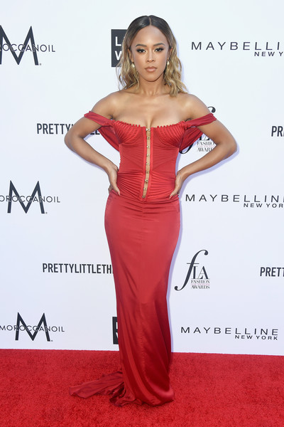 Serayah McNeill Off-the-Shoulder Dress [clothing,dress,carpet,shoulder,red carpet,fashion model,hairstyle,gown,long hair,premiere,arrivals,serayah,beverly hills hotel,california,daily front row,4th annual fashion los angeles awards]