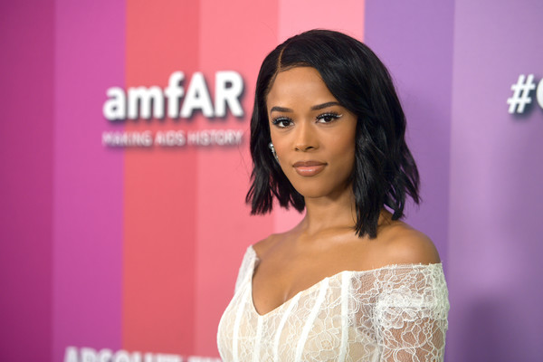 Serayah McNeill Asymmetrical Cut [hair,hairstyle,black hair,skin,beauty,eyebrow,lady,chin,lip,pink,arrivals,serayah mcneill,los angeles,california,amfar,milk studios,amfar gala]