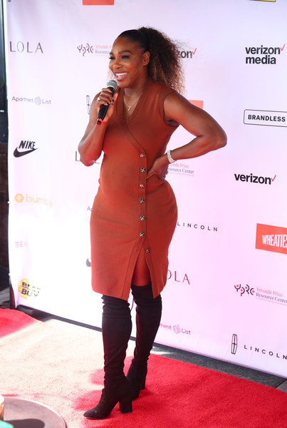 Serena Williams Over the Knee Boots [serena williams,yetunde price resource center,harriet,yetunde price resource center celebrate home bridge partnership with apartment list,home bridge partnership,apartment list,clothing,carpet,red carpet,dress,footwear,fashion,shoulder,joint,flooring,long hair,rooftop,west hollywood,california]