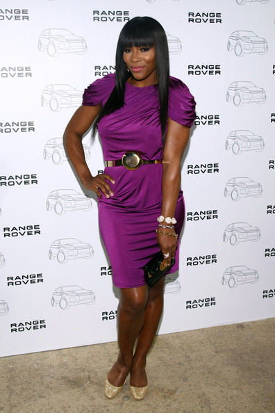 Serena Williams Pumps [land rover celebrates the range rover evoque,clothing,purple,fashion,cocktail dress,dress,fashion model,shoulder,joint,footwear,fashion design,range rover evoque,serena williams,hand,new york city,highline states,launch]