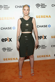 Iggy Azalea matched her top with a pencil skirt that hugged her famous hips in all the right places.
