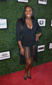 Serena Williams kept the sexiness going with a matching fringe skirt.