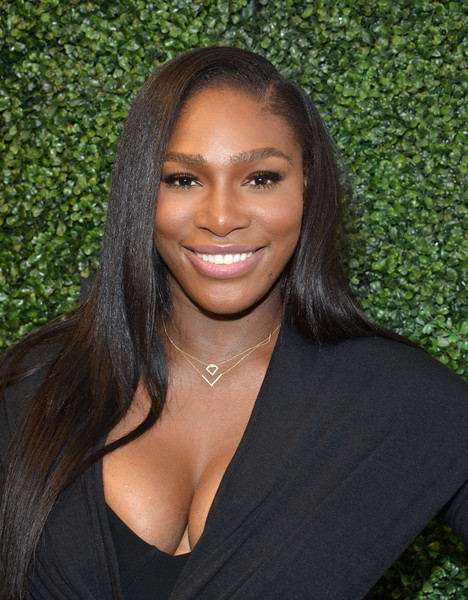Serena Williams showed off glossy, flat-ironed tresses during her Signature Statement fashion show.
