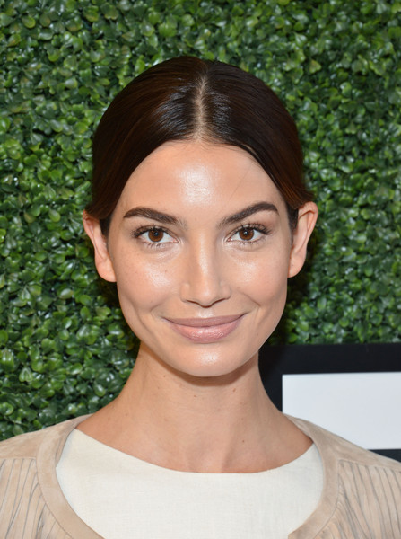 Lily Aldridge kept it simple with this center-parted bun at the Serena Williams Signature Statement fashion show.