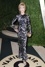 Jane Fonda showed off her rocking figure in a black and white spotted, long-sleeved gown, which she wore to the Vanity Fair Oscar party.