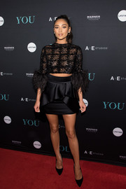 Shay Mitchell looked daring in a sheer, embellished crop-top by Georges Chakra Couture at the 'You' series premiere.