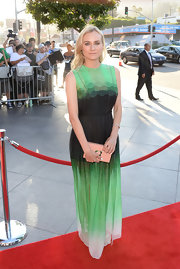 Diane Kruger stunned in a green ombre gown while at the premiere of 'The Bridge.'