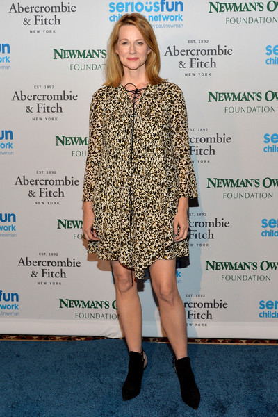 Laura Linney chose black suede ankle boots to pair with her dress.