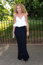 A long black lattice-hem skirt rounded out Kelly Hoppen's party ensemble.