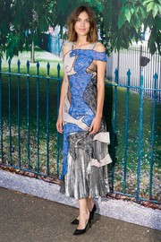 Alexa Chung looked like a work of art in her Christopher Kane patchwork lace dress during the Serpentine Gallery Summer Party.