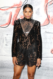 Ciara sizzled in a sheer lace mini dress by Christopher Kane at the Serpentine Summer Party 2018.