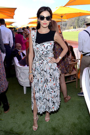 Camilla Belle donned an ADEAM  print dress with an asymmetrical yoke for the Veuve Clicquot Polo Classic.