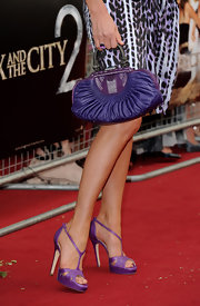 Penny Lancaster stepped out at the 'Sex and The City 2' premiere in her purple platforms.