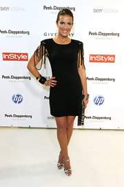 Kerstin Linnartz paired her strappy heels with an embellished dress.
