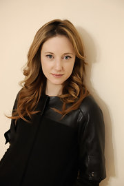 Andrea Riseborogh added a bit of curl to her long layered locks at the 2012 Sundance Film Festival.