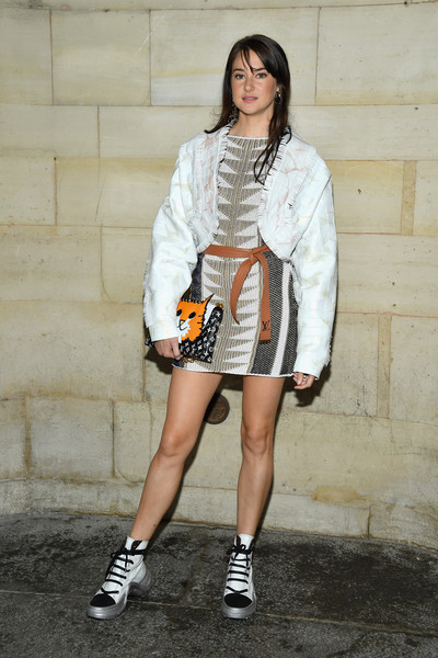 Shailene Woodley Cropped Jacket [white,clothing,street fashion,fashion,footwear,fashion model,beauty,snapshot,shoe,outerwear,shailene woodley,front row,part,paris,france,louis vuitton,paris fashion week womenswear spring]