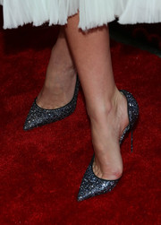 Miranda Kerr dazzled in sparkly blue pointy pumps by Christian Louboutin during the Broadway opening of 'Shakespeare Romeo and Juliet.'