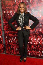 Deborah Cox opted for a black tux, teamed with an animal-print button-down, when she attended the Broadway opening of 'Shakespeare's Romeo and Juliet.'