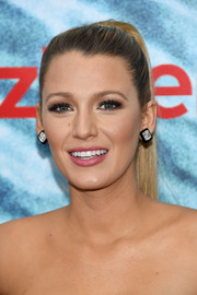Blake Lively paired her ponytail with huge diamond studs.
