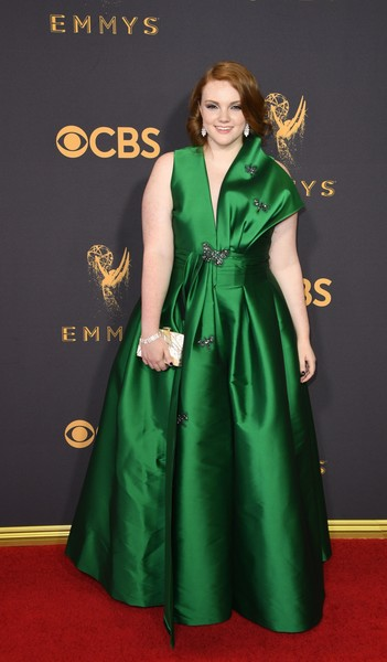 Shannon Purser Evening Dress [photo,clothing,red carpet,carpet,dress,green,flooring,gown,a-line,hairstyle,fashion model,arrivals,shannon purser,mark ralston,primetime emmy awards,microsoft theatre,california,los angeles,afp,69th emmy awards]