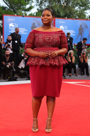 Octavia Spencer made a classic and stylish choice with this raspberry off-the-shoulder peplum dress by Tadashi Shoji for the Venice Film Festival premiere of 'The Shape of Water.'