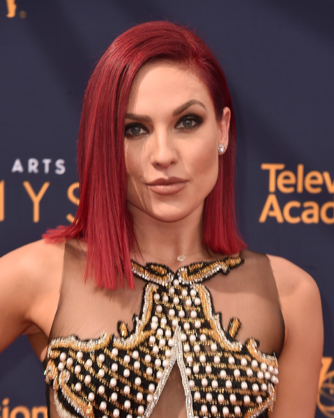 Sharna Burgess Asymmetrical Cut [hair,face,hairstyle,eyebrow,hair coloring,red hair,beauty,skin,chin,lip,arrivals,sharna burgess,creative arts emmy awards,california,los angeles,microsoft theater,creative arts emmys]