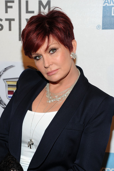 Sharon Osbourne Layered Sterling Necklace [hair,hairstyle,forehead,black hair,bangs,white-collar worker,layered hair,brown hair,sharon osbourne,god bless ozzy osbourne,new york city,bmcc tribeca pac,premiere,2011 tribeca film festival,premiere]