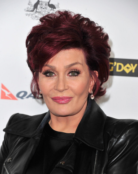 Sharon Osbourne Layered Razor Cut [hair,face,hairstyle,eyebrow,lip,forehead,chin,hair coloring,black hair,smile,sharon osbourne,arrivals,los angeles,usa,jw marriott,california,l.a. live,black tie gala]