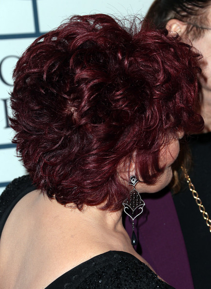 Sharon Osbourne Short Curls [hair,hairstyle,face,chin,hair coloring,black hair,layered hair,red hair,long hair,magenta,sharon osbourne,lucian grainge,arrivals,salute to industry icons,hair detail,the beverly hilton,beverly hills,california,56th annual grammy awards,grammy awards pre-grammy gala]