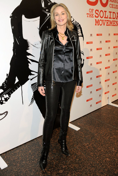 Sharon Stone Skinny Pants [clothing,footwear,fashion,jacket,leggings,leather,outerwear,tights,latex clothing,textile,lech walesa,sharon stone,los angeles,california,museum of tolerance,solidarity,30th anniversary of solidarity celebration,celebration]