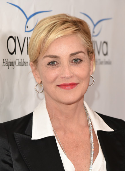 Sharon Stone Short Side Part [hair,face,hairstyle,eyebrow,blond,lip,beauty,chin,skin,forehead,sharon stone,gala,beverly hills,california,beverly wilshire four seasons hotel,aviva]